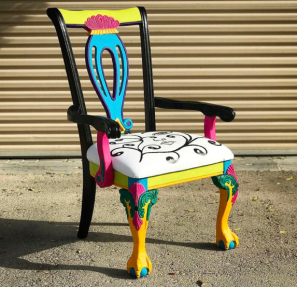 The Chairwoman - an abandoned chair from a sidewalk, given a new lease of life, now a quirky piece of functional art