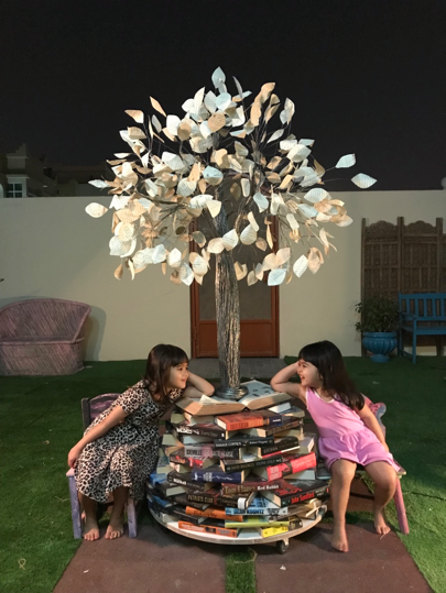 Tree of Knowledge - an art installation consisting of 102 second hand novels and wires